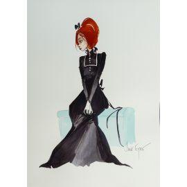CROCI dessin original 3 : Jane Eyre sur malle bleue