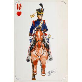 PAQUES J-M Cavalier napoléonien 10 de coeur Artilleerie belgo-hollandaise