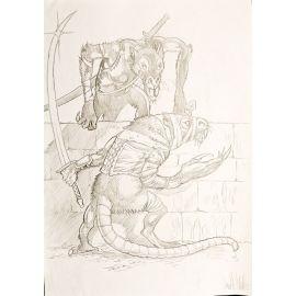 VAN DE WALLE dessin original A4 n° 4 Rats géants