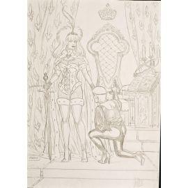 VAN DE WALLE dessin original A4 n° 14 Captives la révérence