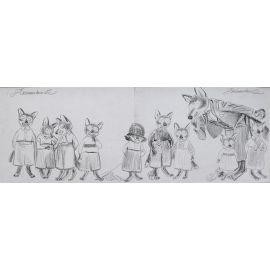 ARINOUCHKINE crayonné 4 Le loup et les petits loups
