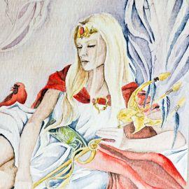 ALBANESE dessin A3 Reine au trident