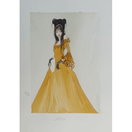 CROCI dessin original 4 : Carmilla robe jaune