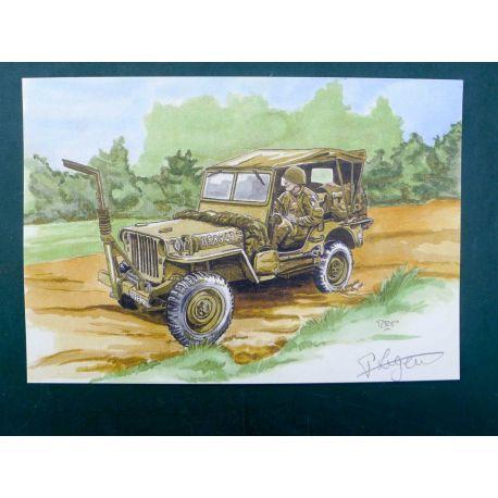LEGEIN ex-libris WW2 Jeep signé