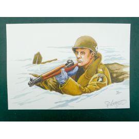LEGEIN ex-libris WW2 soldat US carabine signé