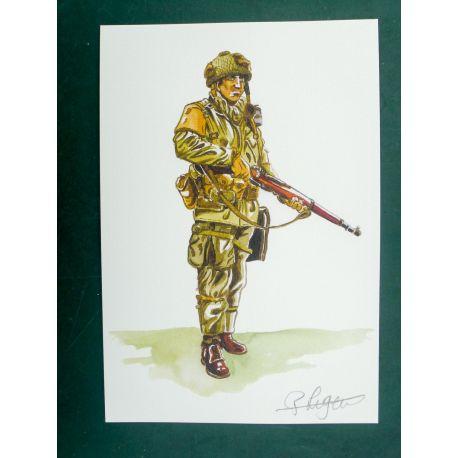 LEGEIN ex-libris WW2 soldat US debout signé
