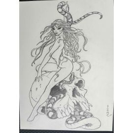 IZAC illustration originale A4 vanité et fée au serpent