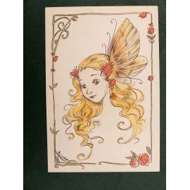CHARLINE dessin original A5 n° 2 visage de fée