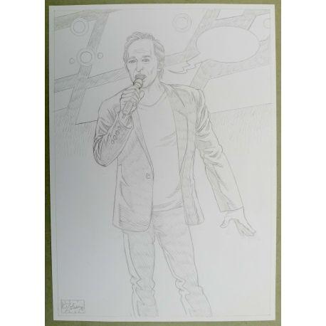 OLIVIER Jean-Jacques GOLDMAN dessin A4 n° 4