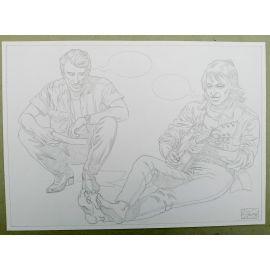 OLIVIER Jean-Jacques GOLDMAN dessin A4 n° 5 Johnny Hallyday