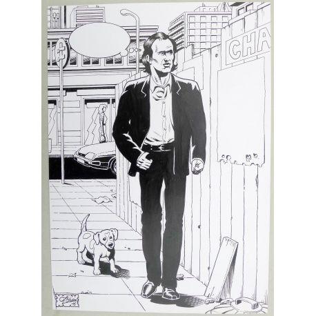 OLIVIER Jean-Jacques GOLDMAN dessin A4 n° 6 encré