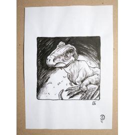 RICCIO dessin original Inktober Dinosaure 2