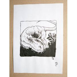 RICCIO dessin original Inktober Dinosaure 10