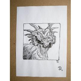 RICCIO dessin original Inktober Dinosaure 11