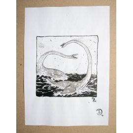 RICCIO dessin original Inktober Dinosaure 12