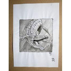 RICCIO dessin original Inktober Dinosaure 13
