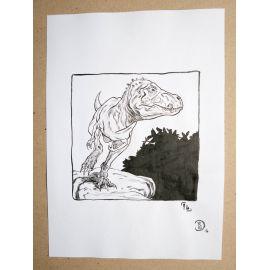 RICCIO dessin original Inktober Dinosaure 14