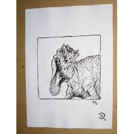 RICCIO dessin original Inktober Dinosaure 15