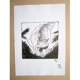 RICCIO dessin original Inktober Dinosaure 16