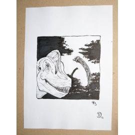 RICCIO dessin original Inktober Dinosaure 17