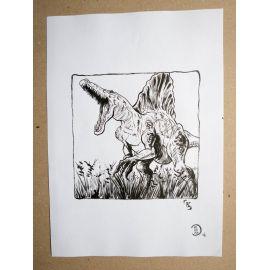 RICCIO dessin original Inktober Dinosaure 18