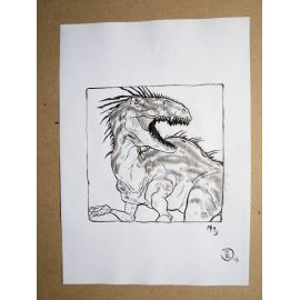RICCIO dessin original Inktober Dinosaure 19