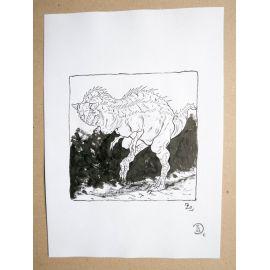 RICCIO dessin original Inktober Dinosaure 20