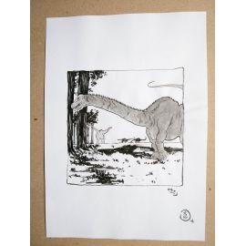 RICCIO dessin original Inktober Dinosaure 22