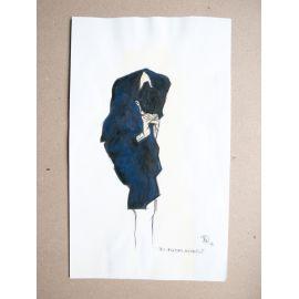 RICCIO dessin original hommage à Egon Schiele