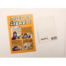 WALTHERY carte postale Passe par Liège signée au dos