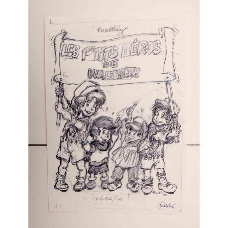 WALTHERY ex-libris Les p'tits héros numéroté signé