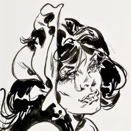 """FENZO Jungla dessin original """"marque-page"""" Jungla buste"""