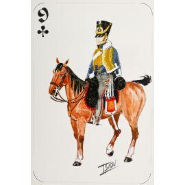 PAQUES J-M Cavalier napoléonien 9 de trèfle Hussard de Brandebourg