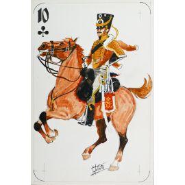 PAQUES J-M Cavalier napoléonien 10 de trèfle Hussard de Silésie