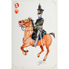 PAQUES J-M Cavalier napoléonien 9 de coeur Hussards de Brunswick