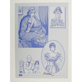 WALTHERY Pin up plaque d'imprimerie signée 80
