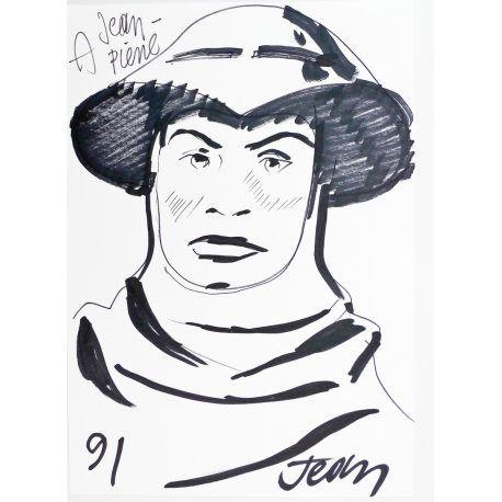 PLEYERS Jhen dédicace ancienne sur feuille : soldat
