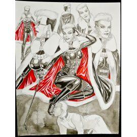 VAN DE WALLE illustration couleur A3 n° 8 Dame blanche 6 études