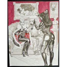 VAN DE WALLE illustration couleur A3 n° 10 Dame blanche sur le divan