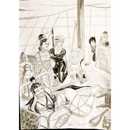 VAN DE WALLE dessin original A4 n° 11 Captives île pirates