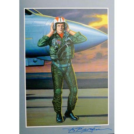 BERGESE ex-libris Buck Danny en pied avec avion, n et s 250 ex