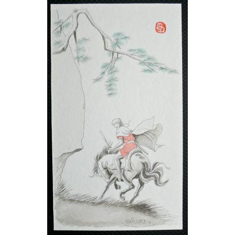DREZE Alix en Chine, dessin original d'ex-libris